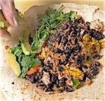 Thumbnail image for Curried coconut, peppers, eggs, beans, rice y cheese breakfast burrito?