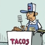 Thumbnail image for La Cucaracha's Taco Cart Guy in 'Fun with Gentrification' (toon)