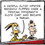 Thumbnail image for La Cucaracha: Why did the hipster flip the elotero's cart? (toon)