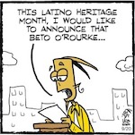 Thumbnail image for La Cucaracha: It's 'Latino Heritage Month' with Beto O'Rourke (toon)