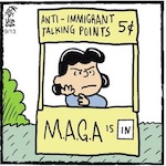 Thumbnail image for La Cucaracha: Got a nickel? Lucy opens her MAGA booth (toon)