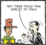 Thumbnail image for La Cucaracha: Area patron has issues with taco cart guy's tacos (toon)