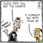Thumbnail image for La Cucaracha: Halloween house with no candy? Plan B! (toon)