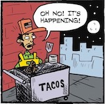 Thumbnail image for La Cucaracha presents Taco Cart Guy Halloween IV: Mutation (toons)