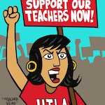 Thumbnail image for Teacher Vero (of La Cucaracha) supports the UTLA strike (toon)