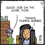 Thumbnail image for La Cucaracha: Muerta Barbie's Halloween decorating advice (toon)